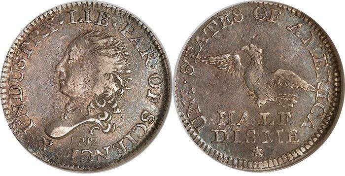 1792 Half Disme Value Half Dime Civil War Token Coin