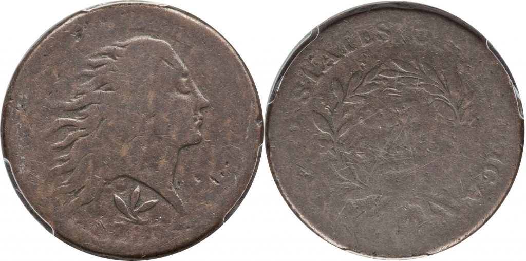 1793 Flowing Hair Large Cent value wreath