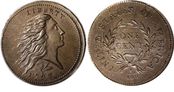 1793 Flowing Hair, Wreath Reverse, Large Cent Value