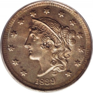 1839 Coronet (Matron) Large Cent Silly Head