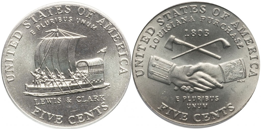 Jefferson Nickel value for Peace Medal and Keel Boat