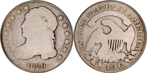 Capped Bust Dime value 1829