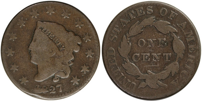Coronet  (Matron)  Large Cent G6 Grade