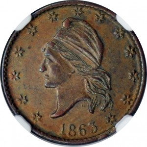 Turban Cap, Left-Facing, Patriotic Civil War Tokens