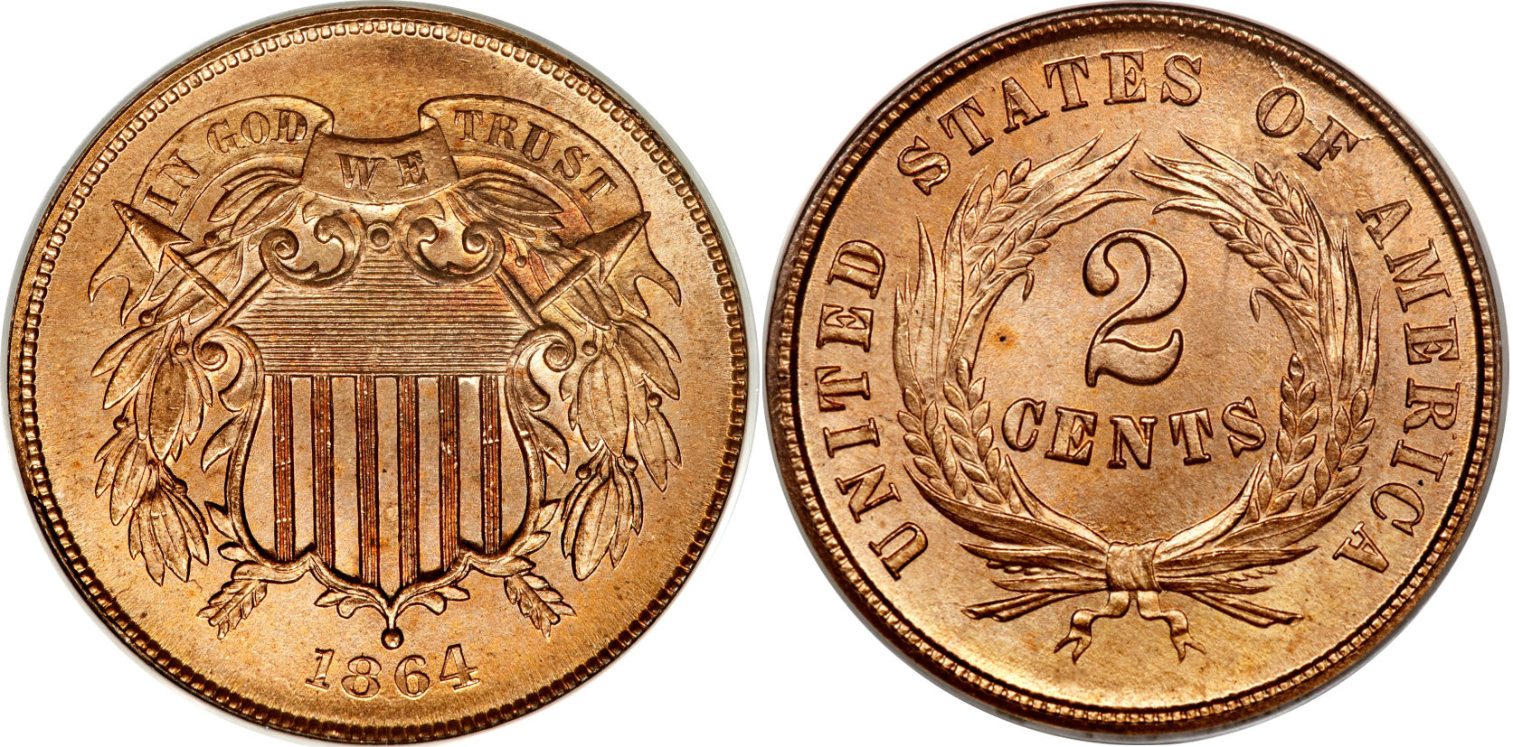 1864 Shield Two Cent Large Motto Value