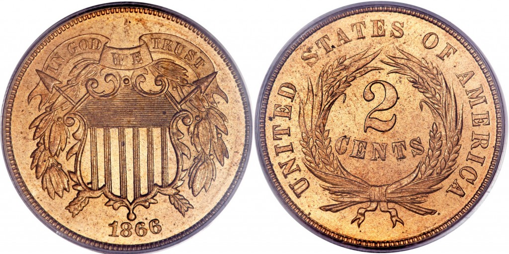 1866 shield two cent value