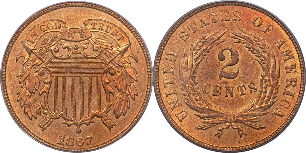 1867 shield two cent value