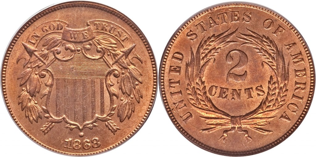1868 shield two cent value