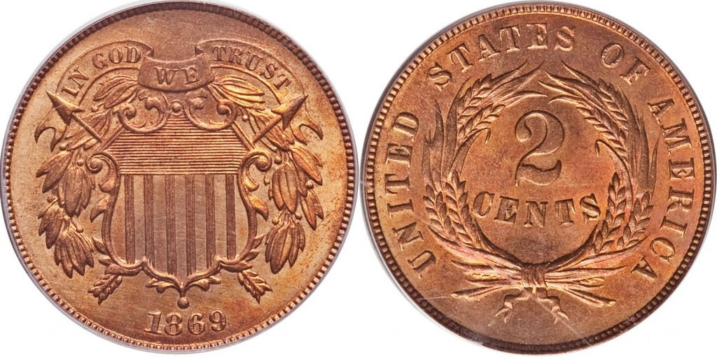 1869 Shield Two Cent value