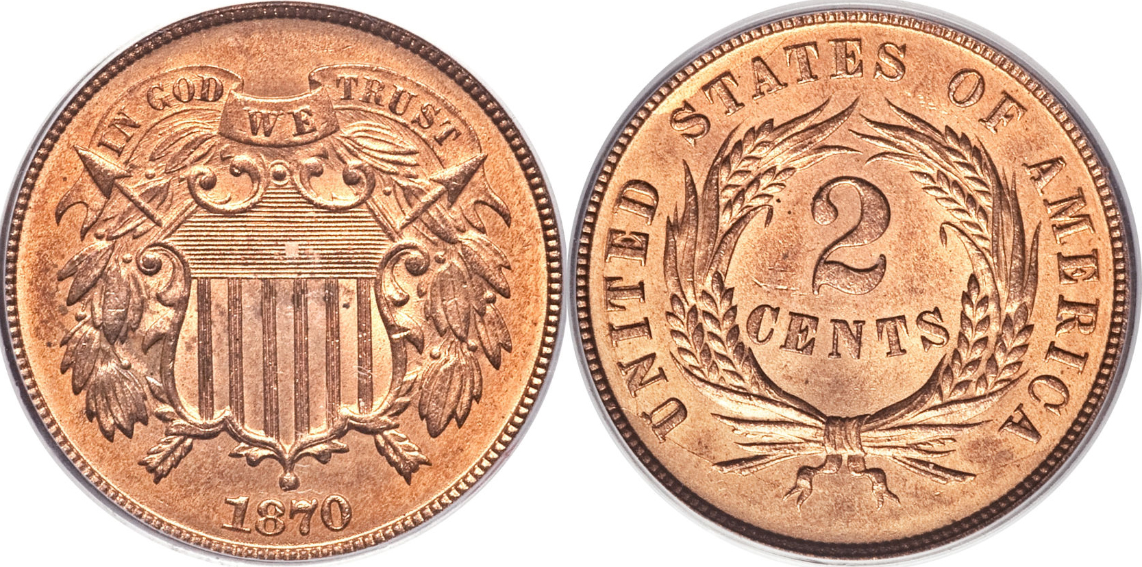 1870 Shield Two Cent Value
