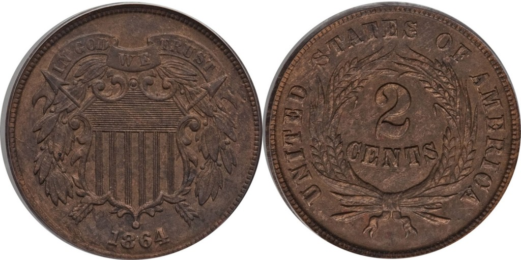 Two Cent Shield AU55 PhotoGrade